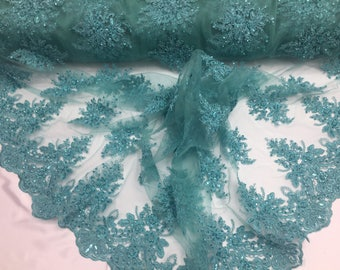 Uniquely designed beaded flower mesh lace Fabric bridal Wedding teal. Sold By Yard