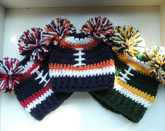 Crochet Football Beanie, Inspired by the Seahawks, Broncos, Cowboys, Packers, Vikings, 49ers, Saints, Patriots, Chiefs, Falcons, Cardinals