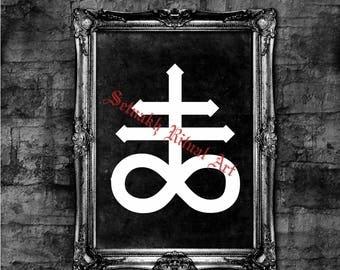 Leviathan cross print, Satanic art,  Alchemical element - Sulfur, Luciferian poster, Eternity cross, Satan, Devil, black mass #7