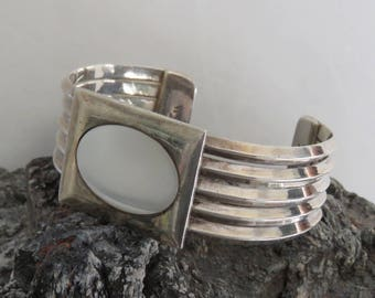 Heavy sterling silver cuff bracelet, mother of pearl, Carinated, 5 bands, vintage, Mexico, Taxco, Mexican, 62 grams