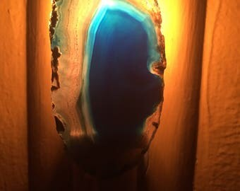 Geode night light, geode slice, blue, decorative