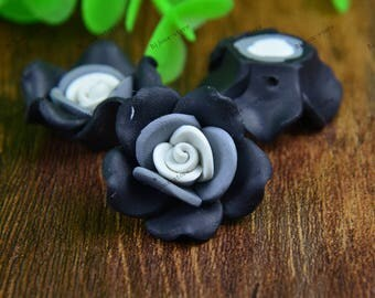 Set of 4 25mm (SZ026) black polymer clay flowers