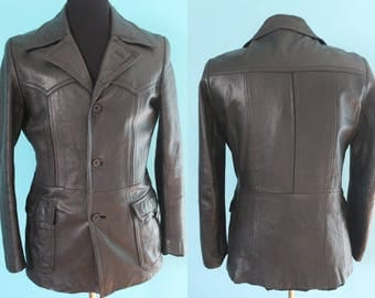 70's Leather Jacket    70's Men's German Leather Jacket