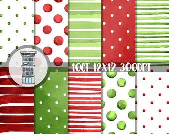 Christmas Watercolor Papers Bright RED & GREEN Digital Paper Pack INSTANT digital download Watercolor Polka dots Stripes backgrounds papel