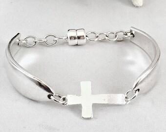 Christian Bracelets for Women , Silver Sideways Cross Bracelet, Religious Cross Bracelet, Cross Bracelet, Christian Jewelry Cross,  Mom Gift