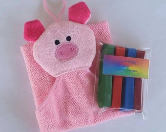 Bath Crayons, Soap Crayons, Bath Puppet, Bath Mitt, Pink Pig, Child's Soap, Gift, Water Toys, Colorful Soap, Washcloth, Bath,Gifts, Soap,Tub