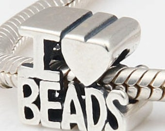 925 Sterling Silver I Love Beads European bead charm
