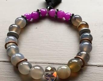 Beautiful Gray quartz stone beaded bracelet accented with a faceted glass bead, purple agate beads, bronze findings and black tassel