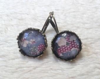 Purple woven flower lace earrings