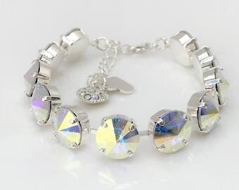 Clear AB Swarovski Crystal Bracelet 12mm Rainbow Crystal Statement Jewellery Bold Designer Jewelry Birthday Gift For Her Lynns Gem Creations