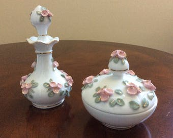 An Antique Darling Lefton China#429 White Two Piece Vanity Set with Pink and Green Leaves.
