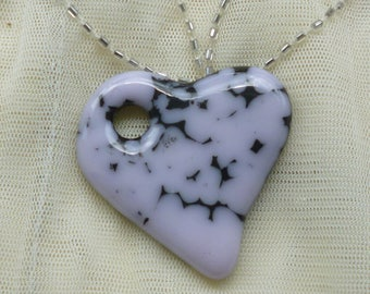 Fused Glass Pendant. Pink and Black Glass Heart Pendant.  Heart Necklace