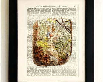 FRAMED ART PRINT on old antique book page - Beatrix Potter, Peter Rabbit, Vintage Wall Art Print Encyclopaedia Dictionary