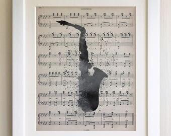 """FRAMED Saxophone Print, 12""""x10"""" Black or White Frame, Modern Art"""