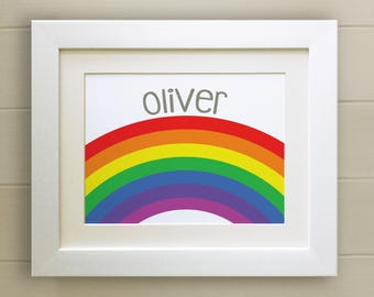 FRAMED Personalised Rainbow PRINT, New Baby/Birth Nursery Picture Gift, Choice of 3 frames, Fab Picture Gift