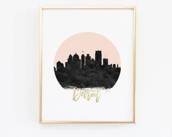 Detroit Print - Detroit Skyline - Black and Pink - Faux Gold Foil - Art Poster - Skyline Prints - Skyline Watercolor - Custom Color