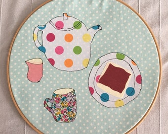 Teapot Applique Freeehand Embroidery | Time for tea | Tea and Toast Picture | Teapot Hoop Art | Teacup Hoop Art | Foodie Gift