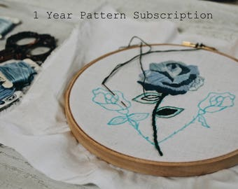 1 Year Embroidery Pattern Subscription // Embroidery Pattern // Embroidery Design
