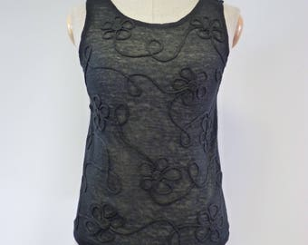 Transparent elegant black linen top, S size.