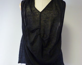 The hot price, sexy transparent black linen top, L size.