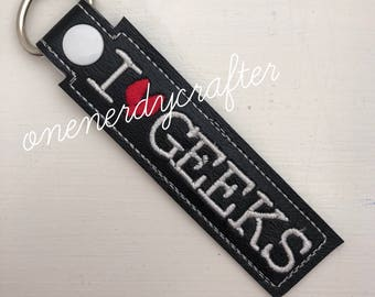 I Heart Geeks Snap Tag / Key Chain