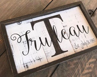 Family Sign, wooden sign, home decor, christmas gift, personalized wedding gift, christmas gift, family established sign, monogram sign