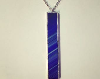 Blue and Green Stained Glass Necklace