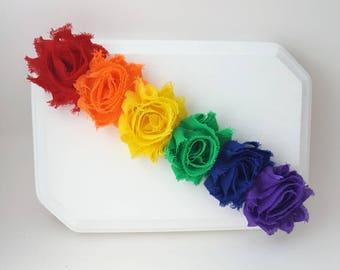 Rainbow Flower Crown - Rainbow Headband - Rainbow Cake Smash - Rainbow Baby - Baby Headbands - Girl's Headband - Shabby Flower Crown