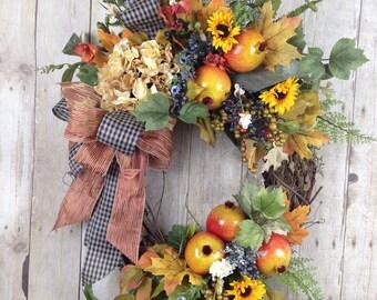 Thanksgiving Wreath,  Front Door Wreath, Fall Door Wreath, Fall Wreath, Autumn Wreath, Fall Hydrangea Wreath