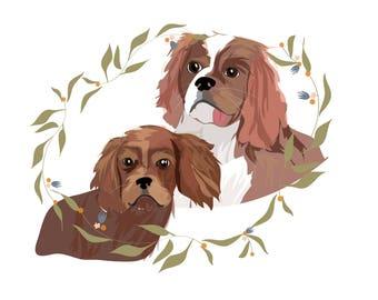 Custom Pet Portrait - 2 pets!