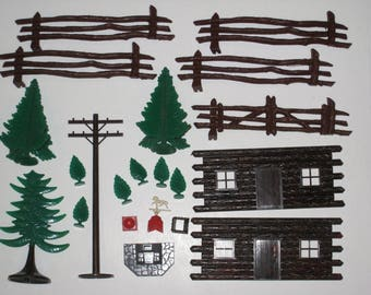 Vintage PLASTICVILLE Plastic Parts and Accessories Lot (Trees, Fences, Log Cabin Front, Shrubs, Telephone Pole, BBQ, Chimney, Weather Vane)