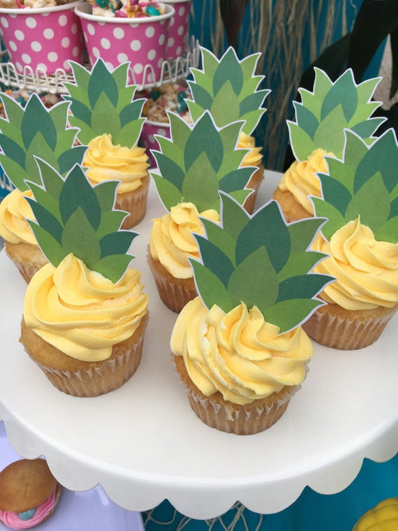 Printable Pineapple Tops Cupcake Toppers Cupcake Toppers For