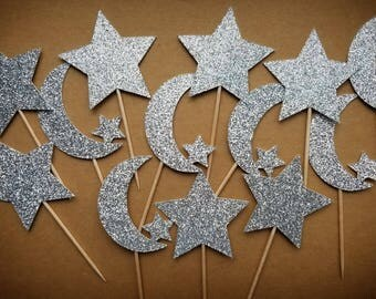 Twinkle Twinkle Cupcake Toppers / 12 Count / Twinkle Twinkle Birthday Decorations / Twinkle Twinkle Party Decorations / Moon Cupcake Toppers