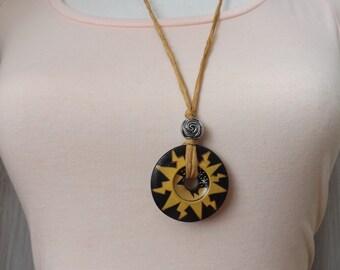 Ceramic sun pendant, silk pendant, summer necklace, pendant from Peru, ring pendant, boho pendant, festival jewellery, multi size pendant