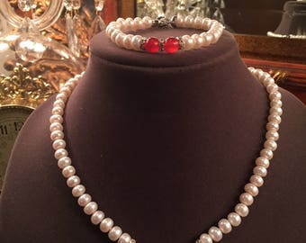 Authentic Freshwater Pearl/Agate Set