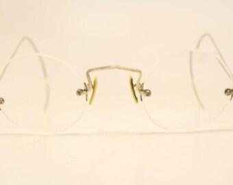 Antique Silver Tone Round Rimless Vintage Eyeglasses