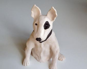 Pet Memorial, Pet Portrait, Dog Portrait, Dog Art, Gifts for Dog Lovers, Bull Terrier, Clay Sculpture, Dog Memorial, Dog Sculpture,