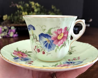 Vintage Royal Grafton Demitasse Teacup and Saucer, English Demi Bone China Tea Cup