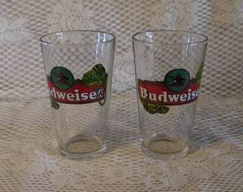 Budweiser Beer Bar Glass, Gift for Him, Pair of 1997 Louie Lizards Glass, Fathers Day Gift