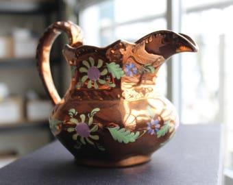 Vintage copper lusterware jug british hand painted copper jug pitcher