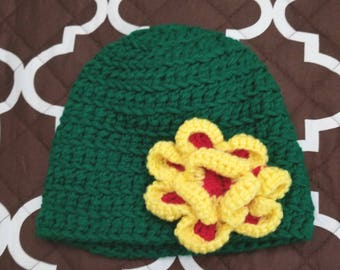 Green Beanie with Flower