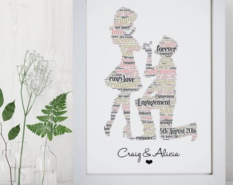 Word art etsy personalised engagement framed word art cloud wedding gift for couples pronofoot35fo Image collections