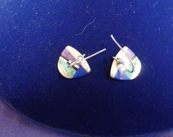 Sterling Silver Multi color pierced earrings sighed Ster.  Panao  95