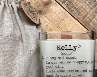 Personalized Friend Gift / Name Gifts/ Gifts For Friends / Candle With Message / Friend Birthday Gifts / Friend Definition / Thinking of you