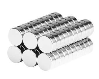 1/4 x 1/10 Inch Neodymium Rare Earth Bottle Cap Disc Magnets N48 (60 Pack)