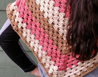 Poncho seventies retro wrap, orange brown beige Accessories, gift for Mom, gift for teen, capelet, chic crochet wraps