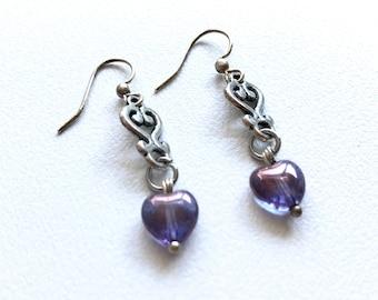 Earrings shiny purple heart Czech glass Silver
