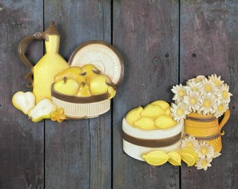 Syroco Plastic Fruit and Flowers Homco (7610 A & B) Wall Plaques~Set of 2