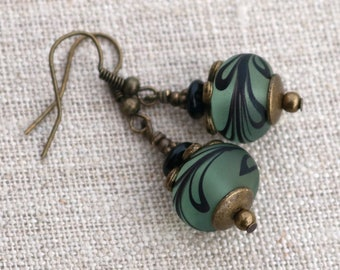 Boho green earrings, dangle earrings, gift idea