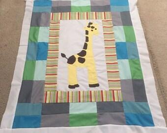 Baby Quilt -  Giraffe baby quilt.